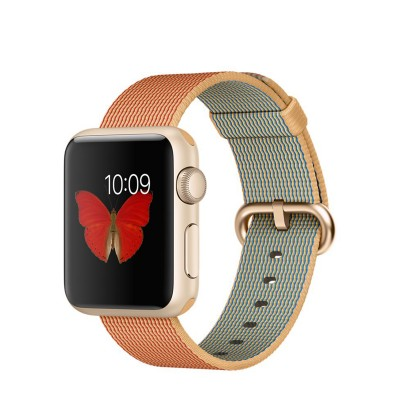 Apple Watch Sport 38 mm Gold Aluminum Case s Gold/Red Woven Nylon