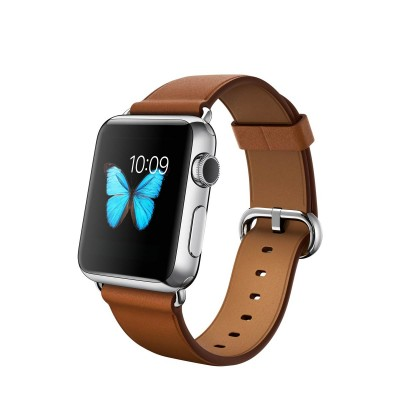 Apple Watch 38 mm Stainless Steel Case s Saddle Brown Classic Buckle