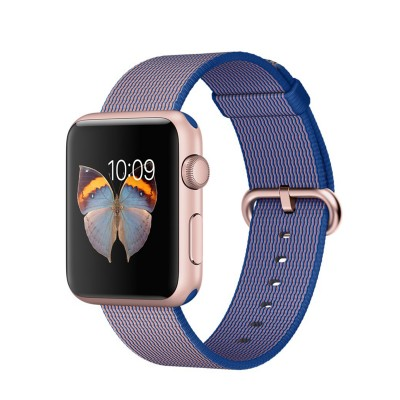 Apple Watch Sport 42 mm Rose Gold Aluminum Case s Royal Blue Woven Nylon