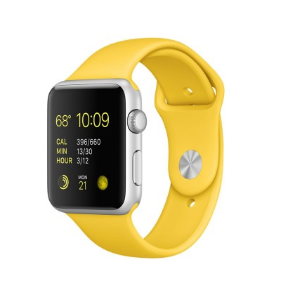 Apple Watch Sport 42 mm Silver Aluminum Case s Yellow Sport Band