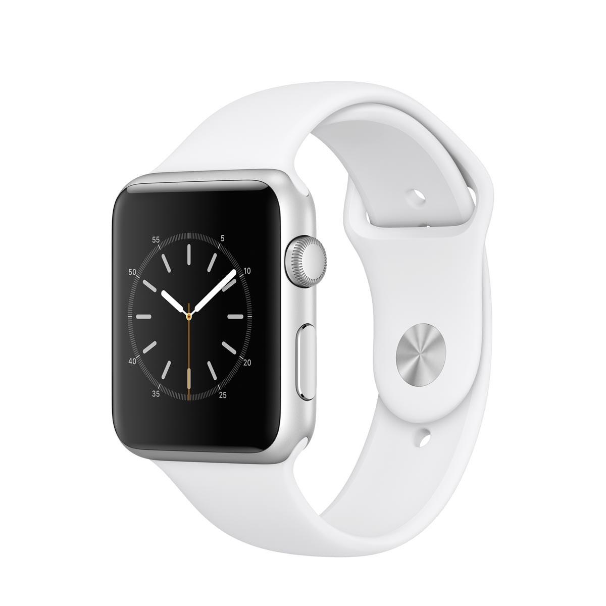 Apple Watch Series 1 - 42 mm Silver Aluminium Case s White Sport Band