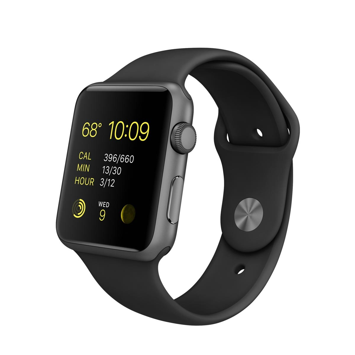 Apple Watch Sport 42 mm Space Gray Aluminum Case s Black Sport Band (RASPRODANO)