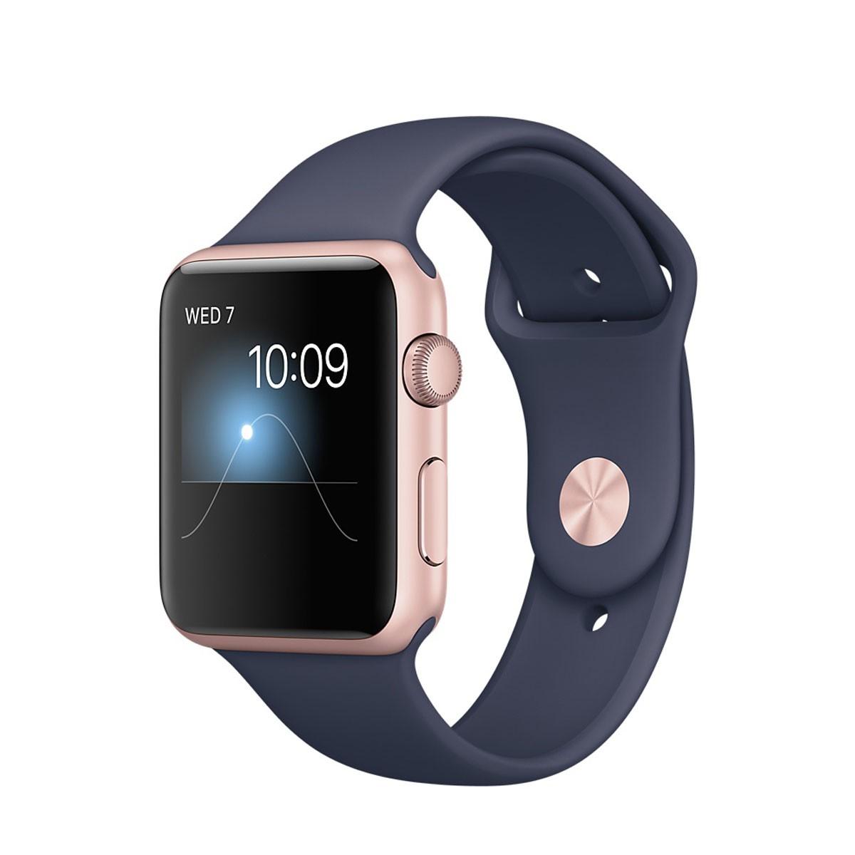 Apple Watch Series 2 - 42mm Rose Gold Aluminium Case s Midnight Blue Sport Band