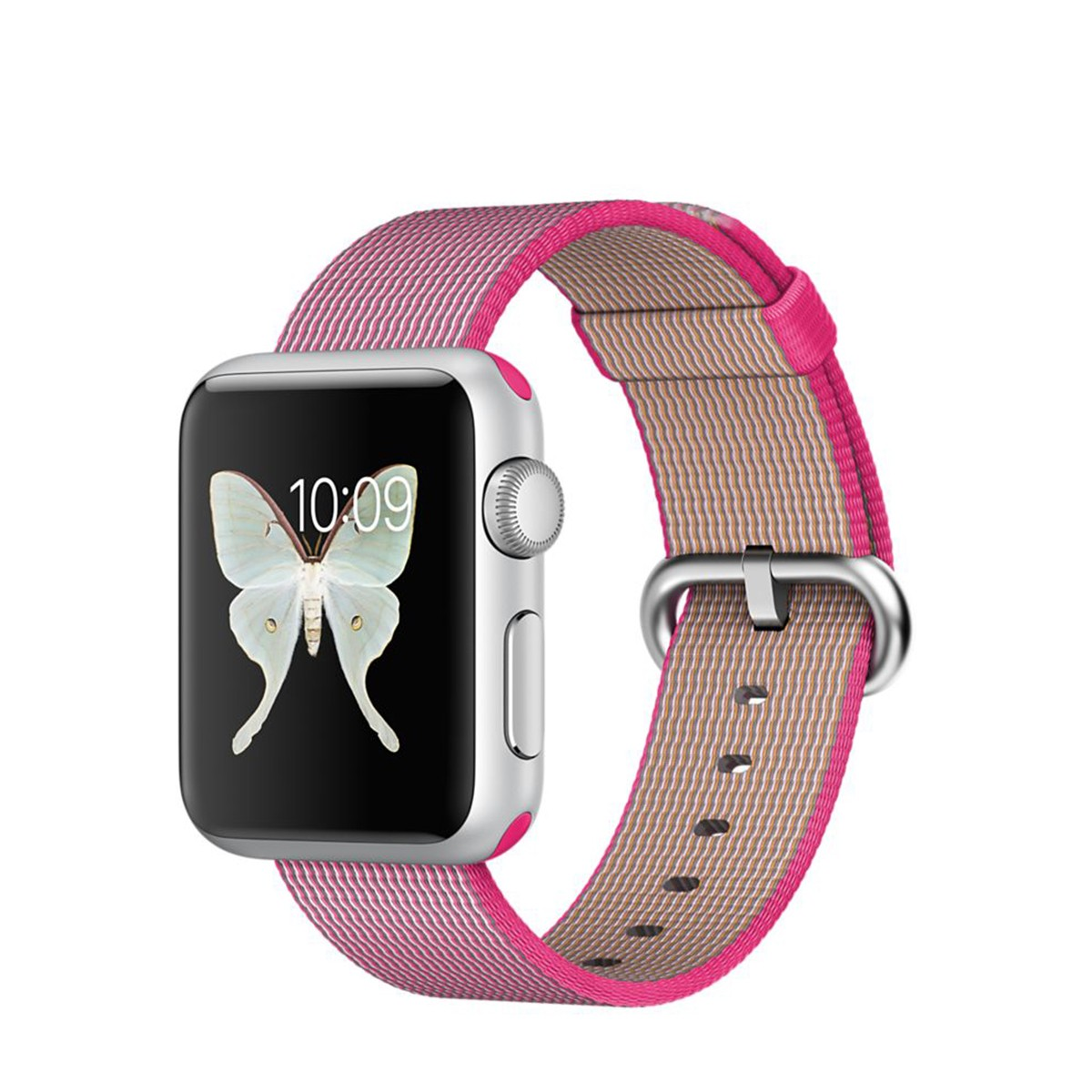 Apple Watch Sport 38 mm Silver Aluminum Case s Pink Woven Nylon