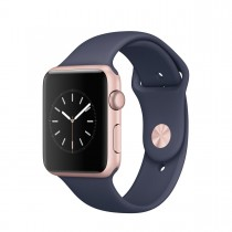 Apple Watch Series 1 - 42 mm Rose Gold Aluminium Case s Midnight Blue Sport Band