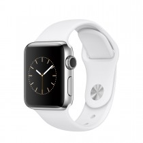 Apple Watch Series 2 - 38mm Stainless Steel Case s White Sport Band