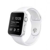 Apple Watch Sport 42 mm Silver Aluminum Case s White Sport Band