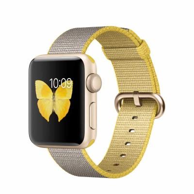 Apple Watch Series 2 - 38mm Gold Aluminium Case with Yellow/Light Grey Woven Nylon Band