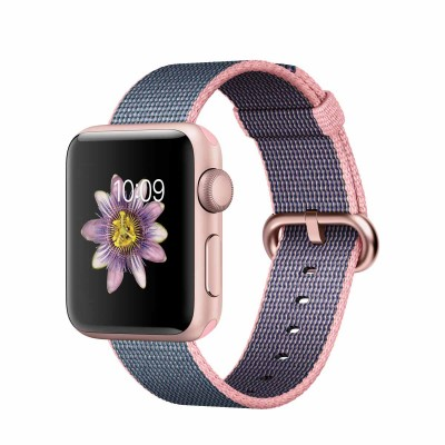 Apple Watch Series 2 - 38mm Rose Gold Aluminium Case with Light Pink/Midnight Blue Woven Nylon Band