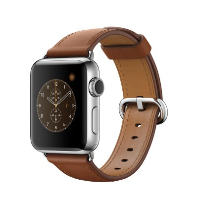 Apple Watch Series 2 Stainless Steel Case with Saddle Brown Classic Buckle