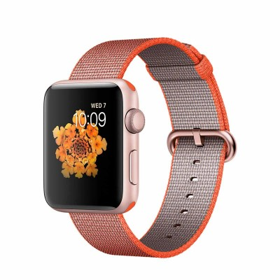 Apple Watch Series 2 - 42mm Rose Gold Aluminium Case with Orange/Anthracite Woven Nylon Band