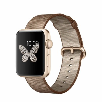 Apple Watch Series 2 - 42mm Gold Aluminium Case with Toasted Coffee/Caramel Woven Nylon Band