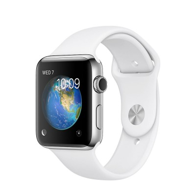 Apple Watch Series 2 Stainless Steel Case with White Sport Band