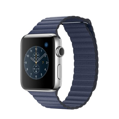 Apple Watch Series 2 Stainless Steel Case with Midnight Blue Leather Loop (42mm)