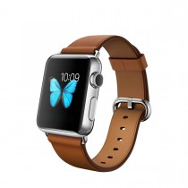 Apple Watch Stainless Steel Case with Saddle Brown Classic Buckle (38mm)