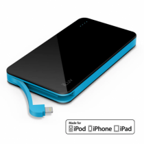 iLuv Compact Portable Power Bank with Integrated Lighting cable (5000mAh) - Black