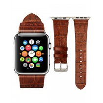 JISON Leather band for 38mm Apple Watch - Brown Croc pattern