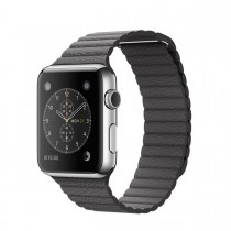 Apple Watch 42mm Stainless Steel Case with Storm Grey Leather Loop