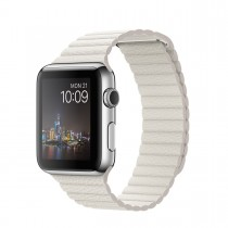 Apple Watch 42mm Stainless Steel Case with White Leather Loop