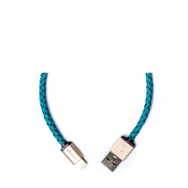 PlusUs LifeStar Handcrafted USB Charge & Sync cable (25cm) Lightning - Turquoise / Light Gold