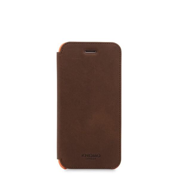 Кафяв кейс с капаче Leather Folio от Knomo за смартфон Apple iPhone 7