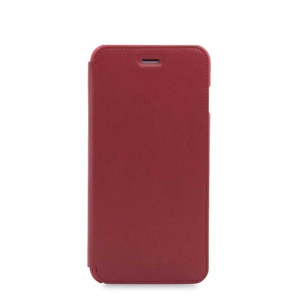 Червен кейс с капаче Leather Folio от Knomo за смартфон Apple iPhone 7 Plus