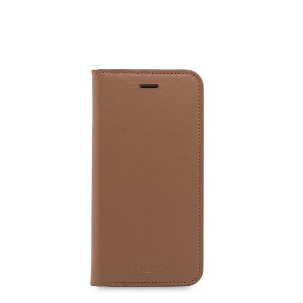 Кейс с капаче Premium Folio от Knomo в цвят карамел за смартфон Apple iPhone 7