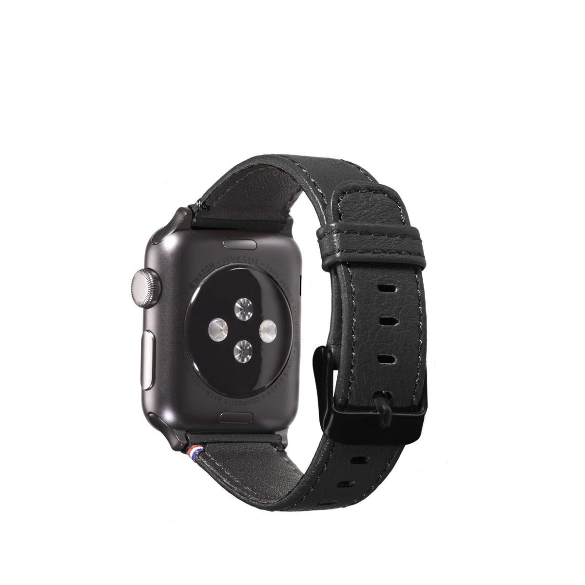 Черна кожена каишка Decoded за Apple Watch - 38 мм