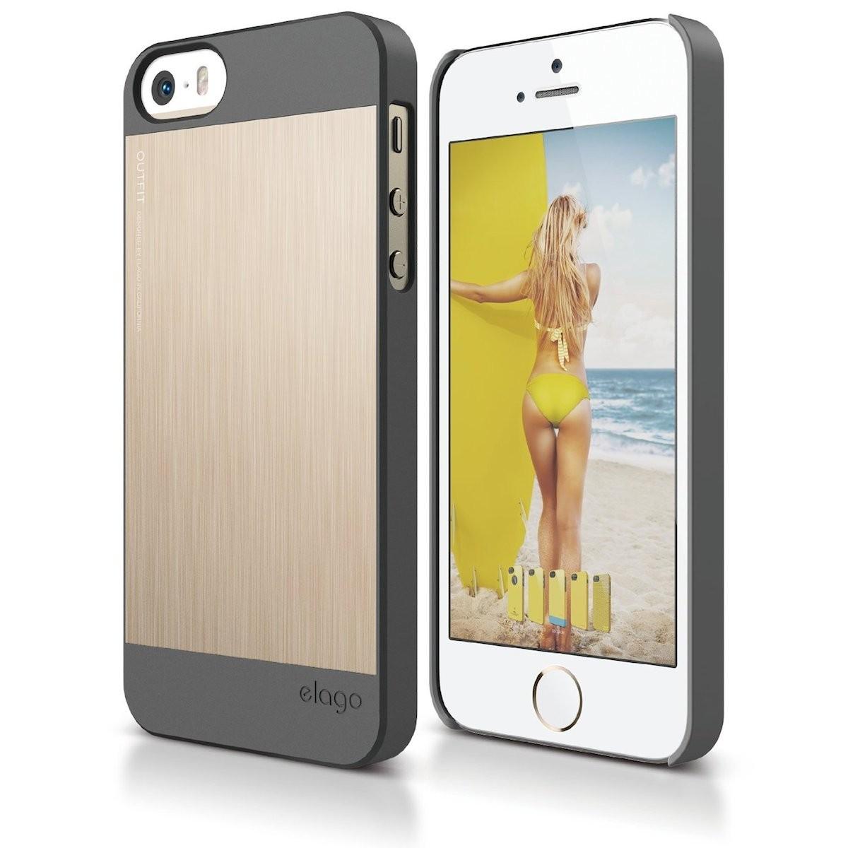 Златист кейс с тъмносиви кантове Elago за Apple iPhone 5/5s от алуминий и поликарбонат срещу удар и издраскване
