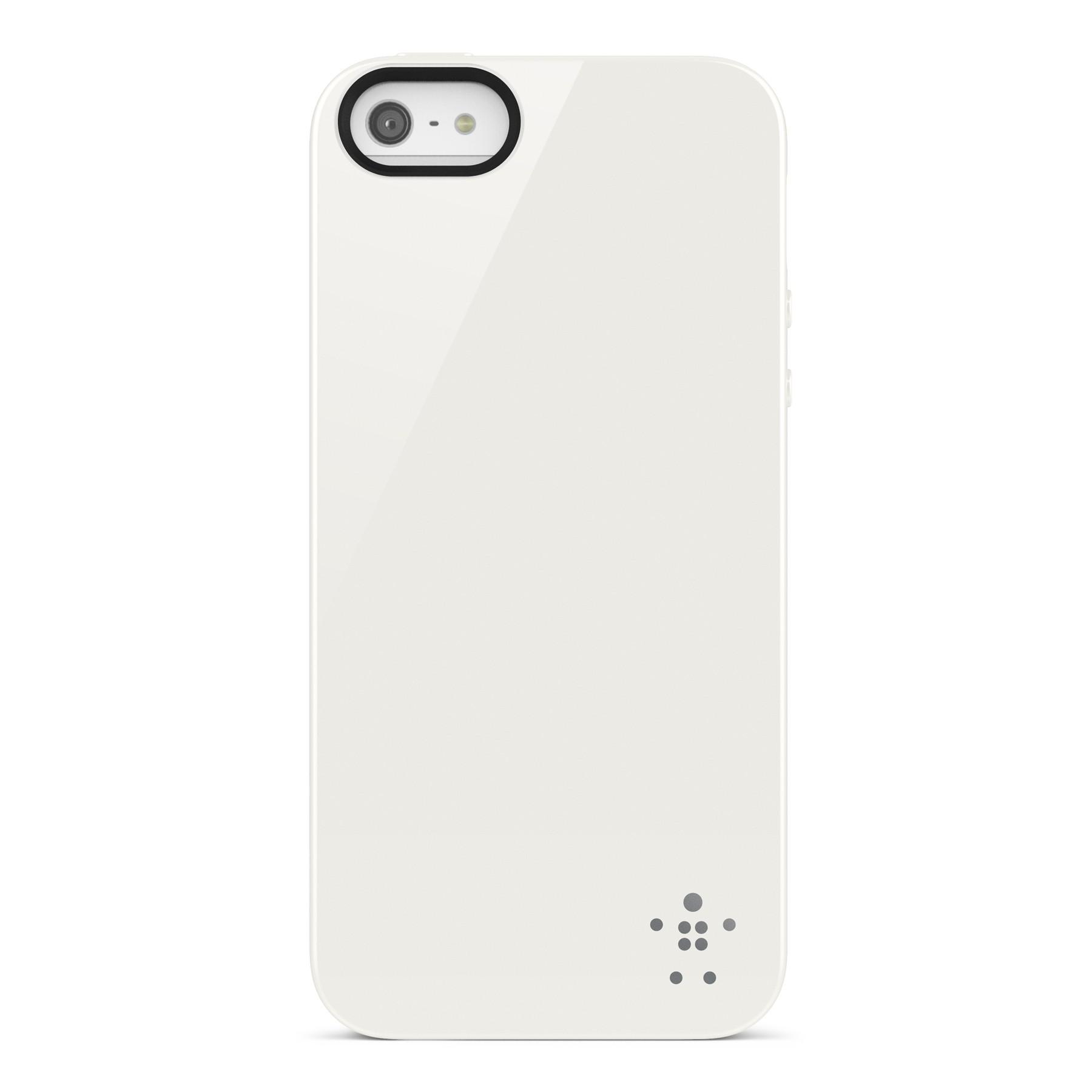 Бял полиуретанов кейс със сива шарка Belkin за Apple iPhone 5