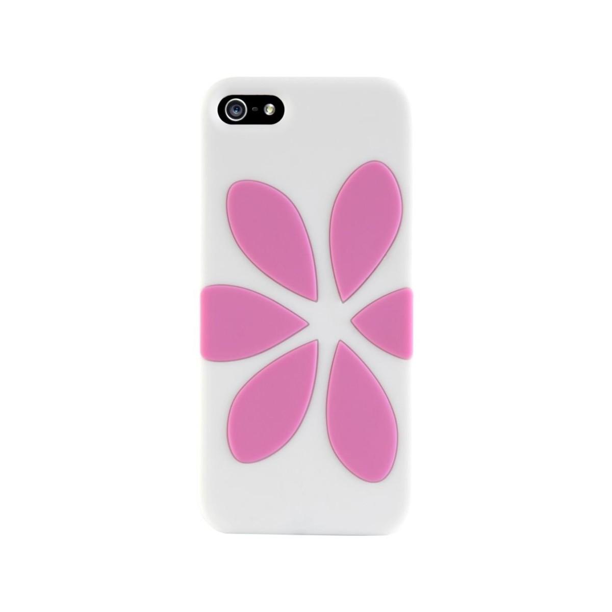 Бял силиконов кейс Agent18 за Apple iPhone 6 с розова шарка във формата на цвете