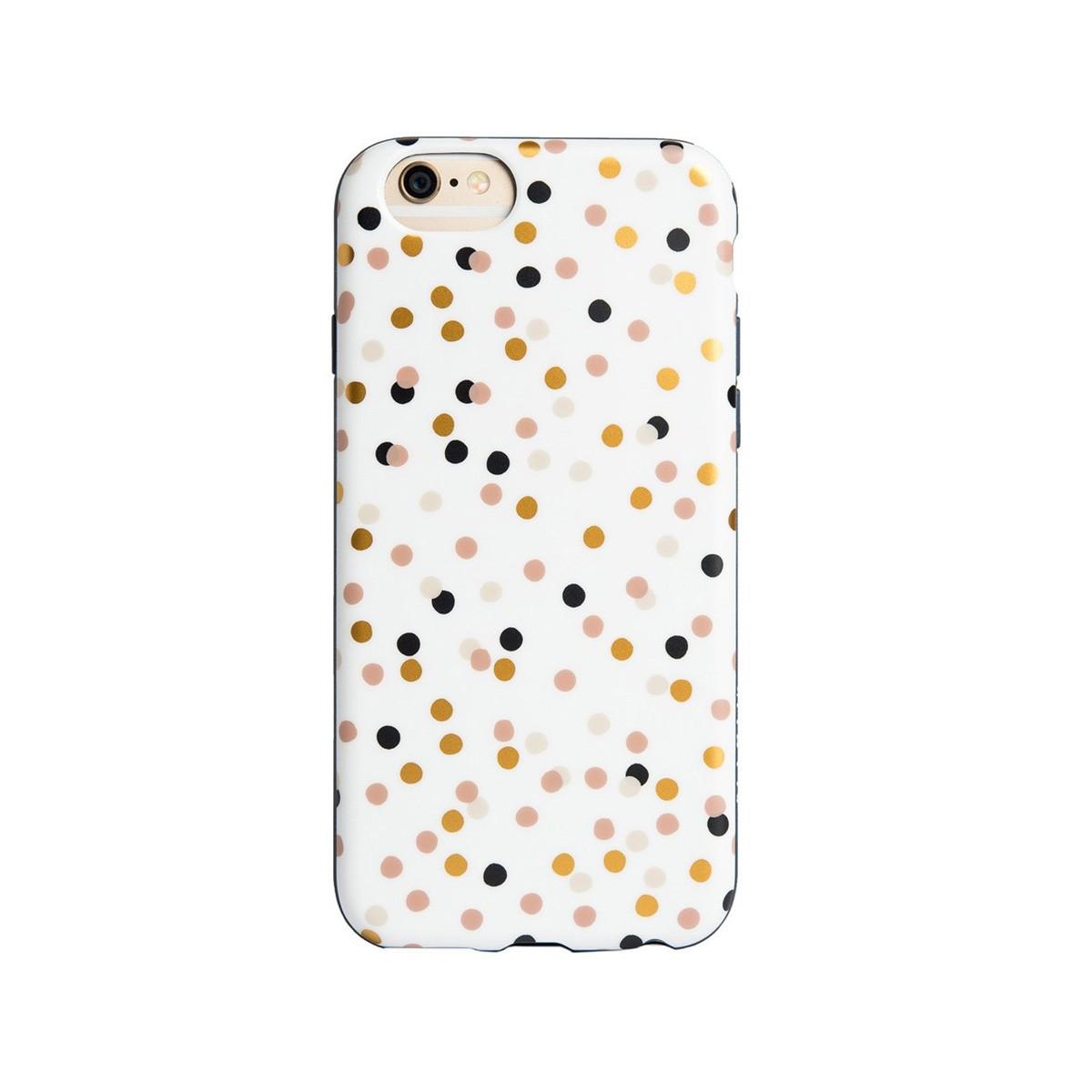 Бял гъвкав кейс Agent18 за Apple iPhone 6 с шарка шарени точки