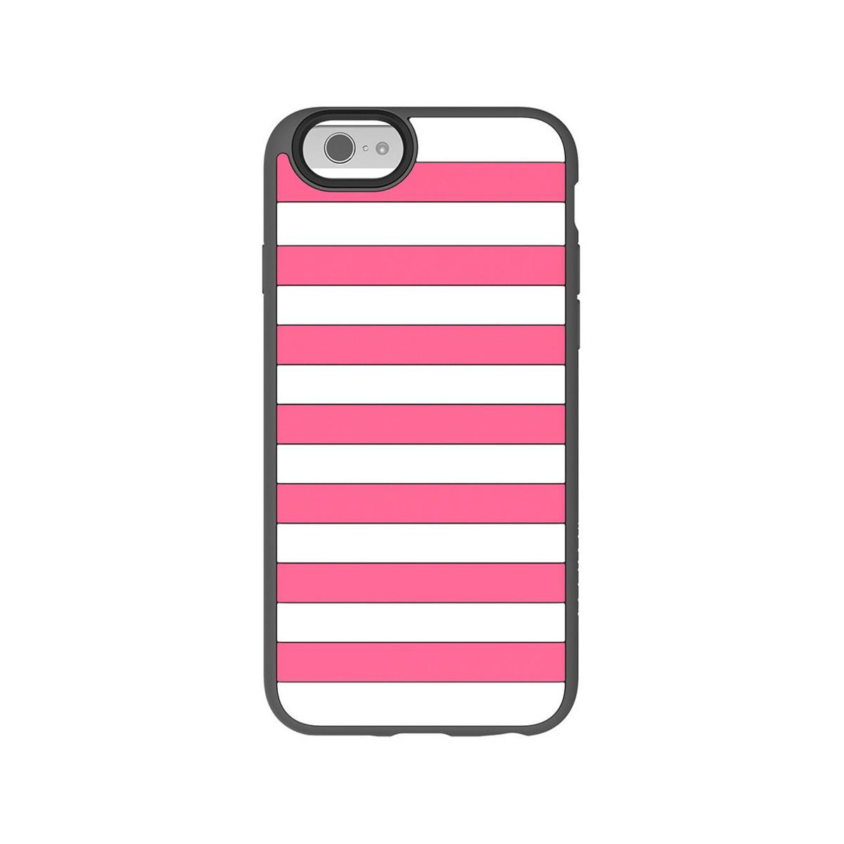 Бял силиконов кейс Agent18 за Apple iPhone 6 с розови райета и сив кант
