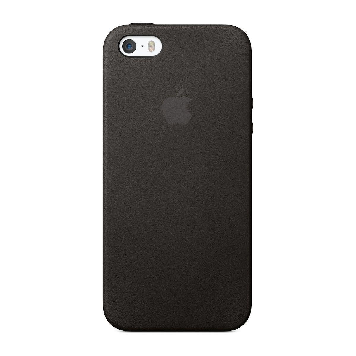 Черен кожен защитен кейс на Apple за iPhone SE