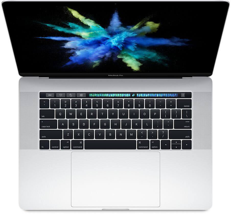 """Сребрист лаптоп Apple MacBook Pro 15"""" с Touch Bar с интегриран Touch ID сензор, четириядрен Intel Core i7 процесор, памет 256GB - българска клавиатура"""