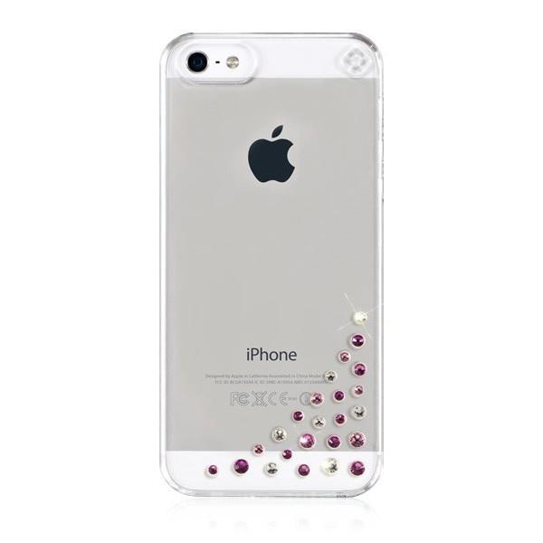 Прозрачен кейс Bling My Thing за Apple iPhone 5/5s с розови и сребристи камъни Сваровски