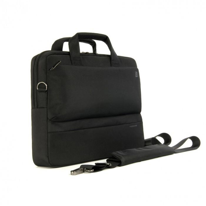 Черна компактна чанта Tucano Dritta Slim за лаптопи с големина 13/14'' и MacBook Pro 15''