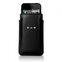 Черен кожен калъф Bling My Thing за Apple iPhone 5/5s/5c със сребристи камъни Сваровски