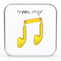 Happy Plugs Yellow Earbud earphones with Mic & Remote