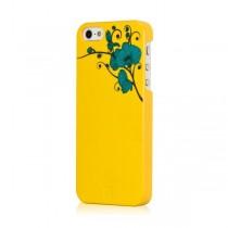 Жълт дизайнерски кейс Bling My Thing за Apple iPhone 5/5s с тюркоазени камъни Сваровски и шарка
