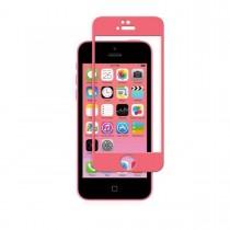 Тънък подсилен протектор за дисплей Moshi от стъкло за Apple iPhone 5/5S/5C с розови краища