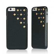 Черен кейс от полиуретанова кожа Bling My Thing за Apple iPhone 6/6s със златисти камъни Сваровски и метални шипове