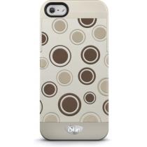 Твърд бежов кейс iSkin за Apple iPhone 5 с щампа на кафяви точки