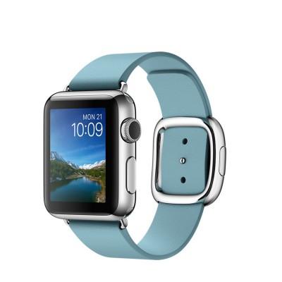 Apple Watch - 38mm pouzdro z nerezové oceli s ledňáčkově modrým řemínkem s moderní přezkou