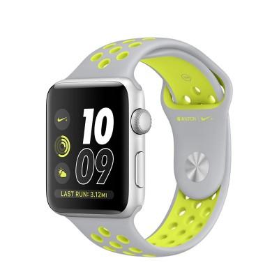 Apple Watch Nike+ - 42 mm pouzdro ze stříbrného hliníku  s matně stříbrným / Volt sportovním řemínkem Nike