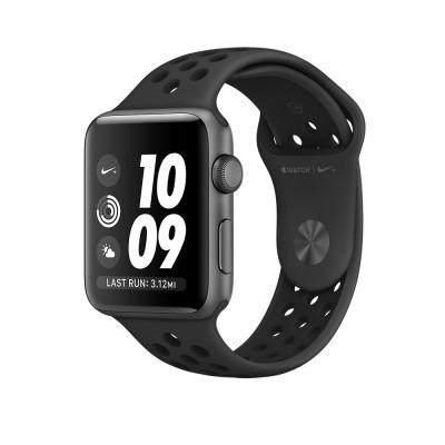 Apple Watch Nike+ - 38mm pouzdro z vesmírně šedého hliníku s antracitovým/černým sportovním řemínkem Nike