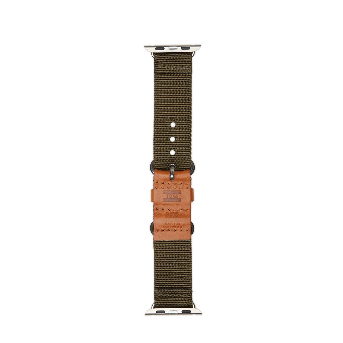 TOMS Utility, tkaný řemínek pro 42mm Apple Watch - olivový