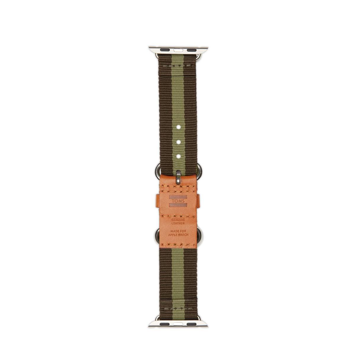 TOMS Utility, tkaný řemínek pro 38mm Apple Watch - zelený proužek