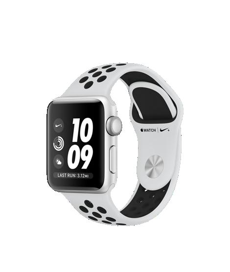 Apple Watch Nike+ 38mm pouzdro ze stříbrného hliníku s platinovým/černým sportovním řemínkem Nike