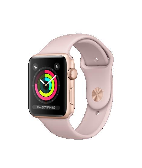 Apple Watch Series 3 42mm pouzdro ze zlatého hliníku s pískově růžovým sportovním řemínkem